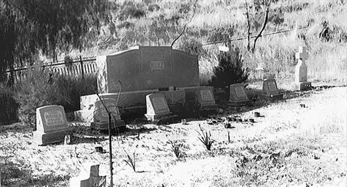 large headstones in graveyard