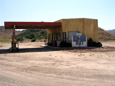 Blue Cloud gas station side view
